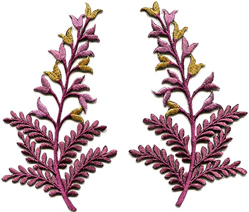 Fern flowers purple gold pair floral boho embroidered appliques iron-on patches (Fern Patch)