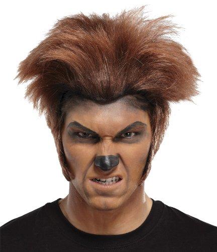 Mr178050 Wolfsmensch Perücke Fluffy Top Dark Brown langer Brenndauer