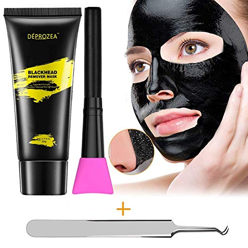 Blackhead Remover, Charcoal Peel Off Mask, Black Mask Purifying Peel Off Mask with Facial Brush, Deep Pore Cleansing + Acne Treatment, 60g