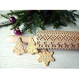 Rolling pin SCANDINAVIAN CHRISTMAS. Wooden embossing rolling pin with SCANDINAVIAN CHRISTMAS pattern. Embossed cookies. Pottery.