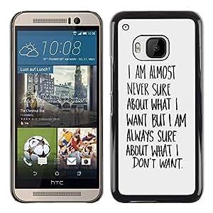 TECHCASE**Cubierta de la caja de protección la piel dura para el ** HTC One M9 ** Know What Want Wishes Quote Motivational