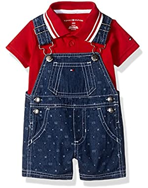 Tommy Hilfiger Baby Boys' Woven Plaid Poplin Shortall and Polo Top