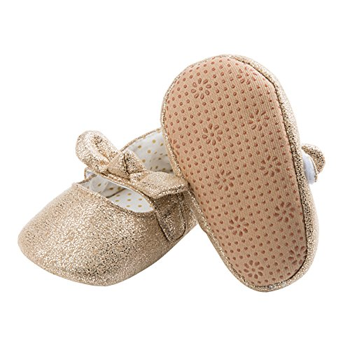 Dicry Baby Girls Soft Sole Non-Slip Sparkly Shoes Gold Velcro Buckle Mary Jane Shoes with Sequins Bowknot for 6-12 Months Infant - Image 1