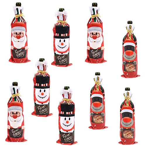 Qibote 9 Pcs Christmas Wine Bottle Cover Bags with Drawstrings, Christmas Wine Bags Gift Santa Claus and Snowman Bottle Bags for Christmas Decorations Hotel Bar Kitchen Table Decor (9 Pcs)