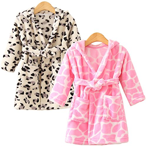 kilofly 2 Sets Soft Cozy Flannel Hooded Bathrobe Toddler Kids Pajama Sleepwear (Toddler Girl Robe)