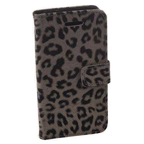 iPhone 5C flip funda de cuero - SODIAL(R)PU flip funda de cuero Por Apple iPhone 5C Negro Estampado Leopardo