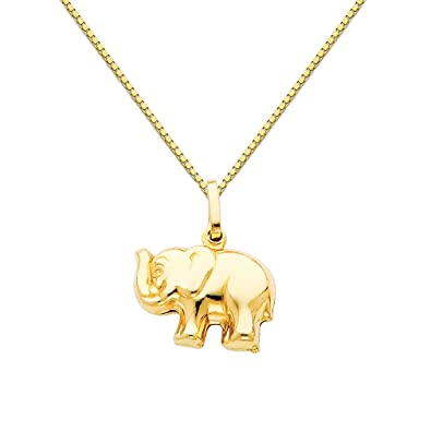 Amazon 14k yellow gold elephant pendant with 08mm box link amazon 14k yellow gold elephant pendant with 08mm box link chain necklace 16 jewelry aloadofball Choice Image