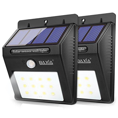 BAXIA TECHNOLOGY LED Solar lights Outdoor, Wireless Waterproof Solar Motion Sensor Security Night Lights for Garden, Wall, Driveway, Steps, Patio(2-Pack)