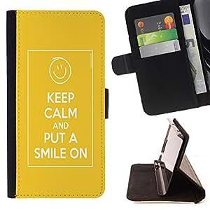 Jordan Colourful Shop - FOR Samsung Galaxy S5 V SM-G900 - Put a smile on - Leather Case Absorciš®n cubierta de la caja de alto impacto