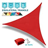 Coarbor 12' x 12' x 12' Triangle Red UV Block Sun Shade Sail Perfect for Patio Outdoor Garden