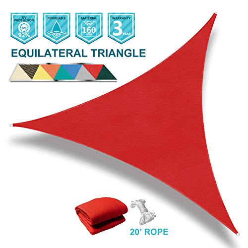 Coarbor 12' x 12' x 12' Triangle Red UV Block Sun Shade Sail Perfect for Patio Outdoor Garden by Coarbor