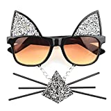 TIJN Nerdy Wayfarer Eyeglasses For Women With Sparkle Cat Mustache