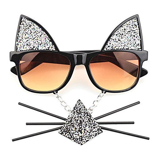 TIJN Nerdy Wayfarer Eyeglasses For Women With Sparkle Cat Mustache by TIJN