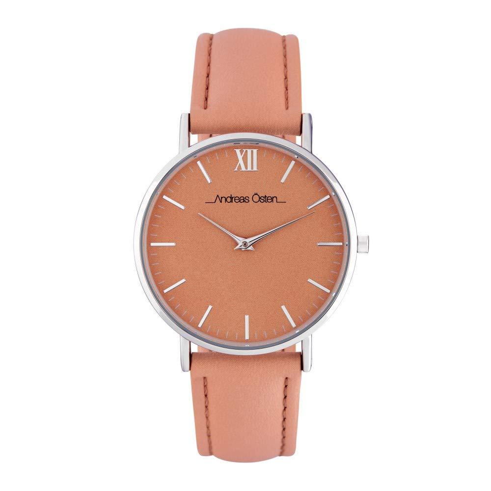 Montre Femme Andreas Osten à Quartz Cadran Orange 36mm Et Bracelet Argenté En PU AOS18011