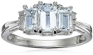 10k White Gold Aquamarine 3-Stone Ring with Diamond-Accent, Size 9