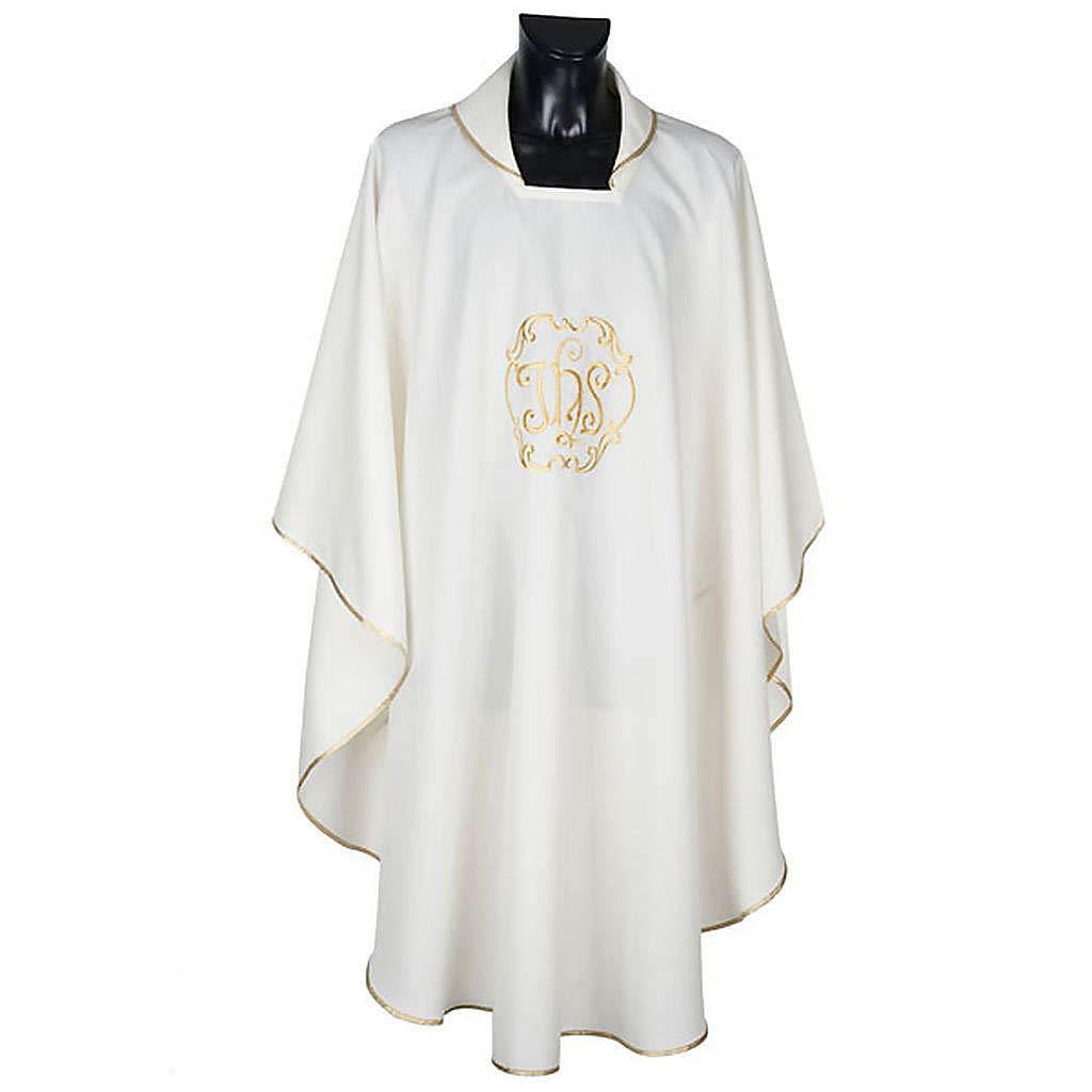 Holyart Casula sacerdotale IHS Oro Poliestere Bianco