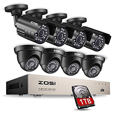 ZOSI Security Camera System 8CH 4-IN-1 HD-TVI 1080N/720P Surveillance Video Recorder with (8) 1.0MP Bullet/Dome Weatherproof CCTV Cameras 1TB Hard Drive, Motion Alert, Smartphone Remote Access by ZOSI