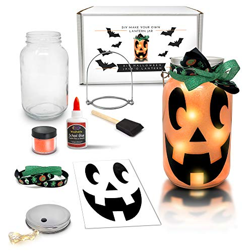 Cheap Halloween Crafts Adults (Mason Jar Lantern Craft Kit - DIY Make Your Own Halloween Lantern Jar - Fun Halloween Craft Project for Kids - Great Gift (Halloween(Jack'O)
