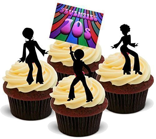 Price comparison product image NOVELTY SEVENTIES PSYCHODELIC DISCO PARTY MIX 'A' - Standups 12 Edible Standup Premium Wafer Cake Toppers - 2 x A5 sheet - 12 images by Baking Bling