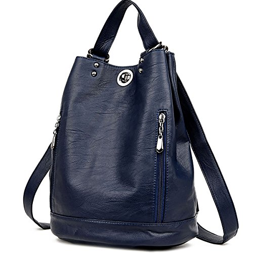 Genuine Leather Backpack for Women - Fashion Laptop Satchel Crossbody Daypacks Tote Handbag (Dark Blue) (Convert Leather Backpack)