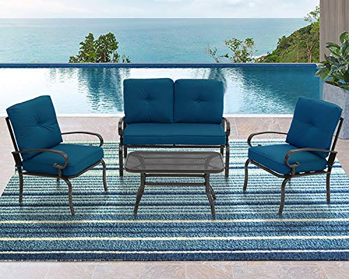 Incbruce 4Pcs Outdoor Patio Furniture Conversation Set (Loveseat, Coffee Table, 2 Lounge Chairs) Powder-Coated Steel with Peacock Blue Cushions
