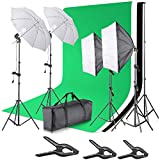 Yuhtech 2.0M x 3M/ 6.6ft x 10ft Background Support System and 135W 5500K Umbrellas Softbox Continuous Lighting Kit for Photo Studio Product,Portrait and Video Shoot Photography (LD-TZ22)