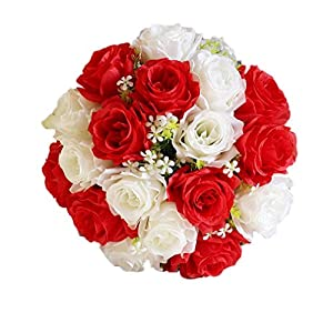 Transer 18Head Artificial Silk Roses Flowers Bridal Bouquet Rose Home Wedding Decor 115