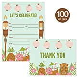 Tropical Invitations & Thank You Cards Matching Set ( 100 of Each ) with Envelopes Island Tiki Palm Graduation Birthday Retirement Grad B'day Party Invites & Thank You Notes Best Value Combination