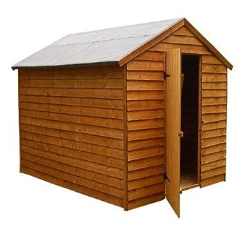 8x6 Overlap Apex Shed Top Security - Caseta de madera solapada (2, 38 x 1, 87 m, tejado a dos aguas): Amazon.es: Jardín
