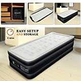 Twin Air Mattress with Built-in Pump - AirExpect Inflatable Mattress Double High Elevated Raised Airbed Blow up Bed for Guests with Comfortable Quilt Top, 80×39×19 Inches, 2-Year Warranty