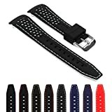 StrapsCo Rubber Perforated Rally Watch Strap Band w/ Curved Ends in 20mm, 22mm, 24mm