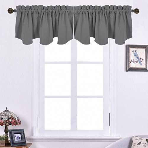 NICETOWN Blackout Curtains Scalloped Valances - 52 inches by 18 inches Rod Pocket Short Curtain Panels for Kitchen, Grey - Treatments Custom Best Window