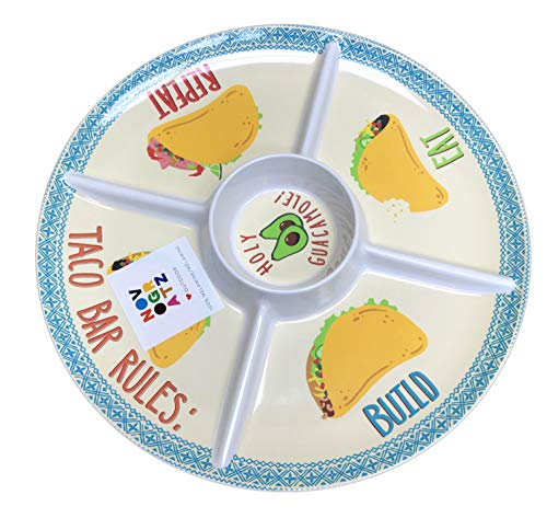 Mexican Fiesta Taco Tuesday 100% Melamine Outdoor Serving Party Plates (1, Round Tray 15 Diameter)