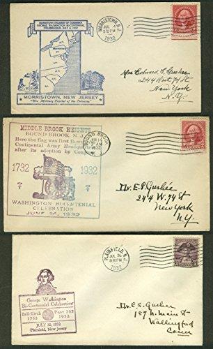 George Washington Bicentennial 1932 postal covers New Jersey Lot of THREE #2