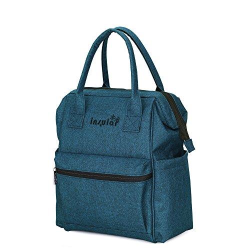 Lino y algodón bolso cambiador momia pañal Mochila Deporte Para Mujer Enfermería Hombro Bolsa + Pañales Pad + bolsa de pañales + cochecito Hook Hanger azul azul azul