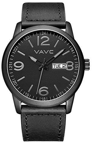 VAVC Men's Fashion Minimalist Casual Black Leather Band Analog Quartz Wrist Watch...
