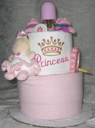 Amazon.com: 2 niveles princesa tarta de pañales de bebé: Baby