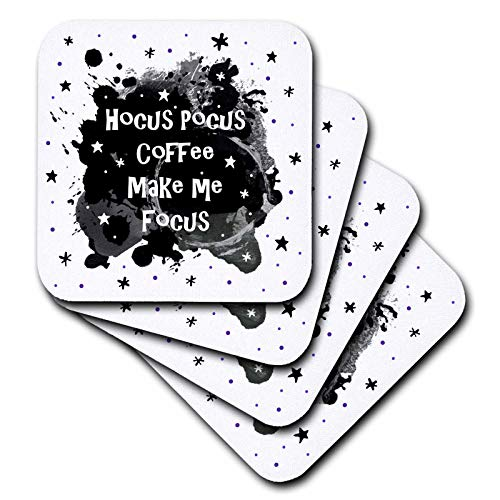 3dRose InspirationzStore - Occasions - Hocus Pocus Coffee Make me Focus - funny Halloween humor Witches Spell - set of 8 Coasters - Soft (cst_317312_2)