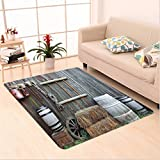 Nalahome Custom carpet ulture Western Wooden Barn Countryside Bucolic Rural House Folk Vintage Scenery Grey Light Brown area rugs for Living Dining Room Bedroom Hallway Office Carpet (6' X 9')