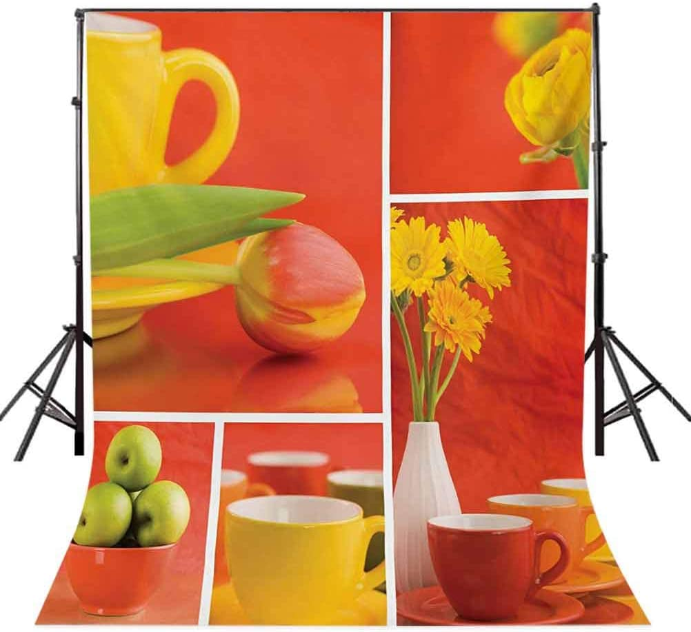 Tea and Coffee Cups Composition in Warm Colors Flowers Tulips and s Background for Party Home Decor Outdoorsy Theme Vinyl Shoot Props Red Yellow Green Kitchen 10x15 FT Photography Backdrop