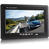 PONPY 7 Inch 16:9 HD 1024x600 TFT LCD Digital Color Screen Car Rear View Headrest Monitor for Backup Camera DVD VCD VCR