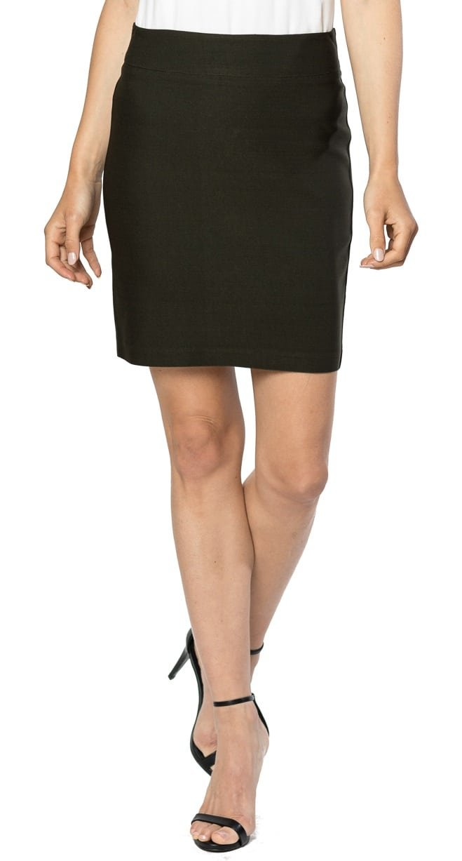 Velucci Womens Stretchable Mini Pencil Skirt - Above The Knee 19'' Length Classic Skirt, Olive-S