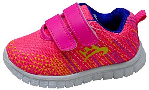 gibra Kinder Sportschuhe Sneaker, Art. 8637, mit Klettverschluss, Sehr Leicht, Pink/Gelb/Blau, Gr. 22-35 pink/gelb/blau