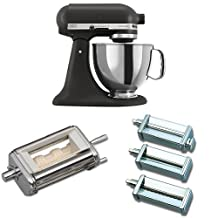 KitchenAid KSM150PSBK Artisan 5-Quart Stand Mixer, Imperial Black + KitchenAid KRAV Ravioli Maker Attachment for Stand Mixers + KitchenAid KPRA Pasta Roller & Cutter Set Bundle