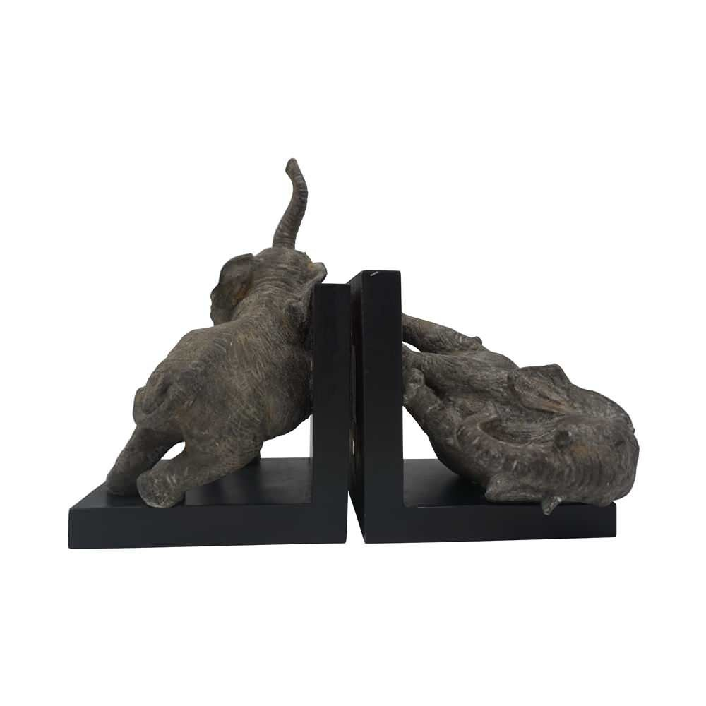 Comfy Hour 12'' Length 10'' Height Set 2 Elephants Bookends Art Bookend, 1 Pair, Gray and Black