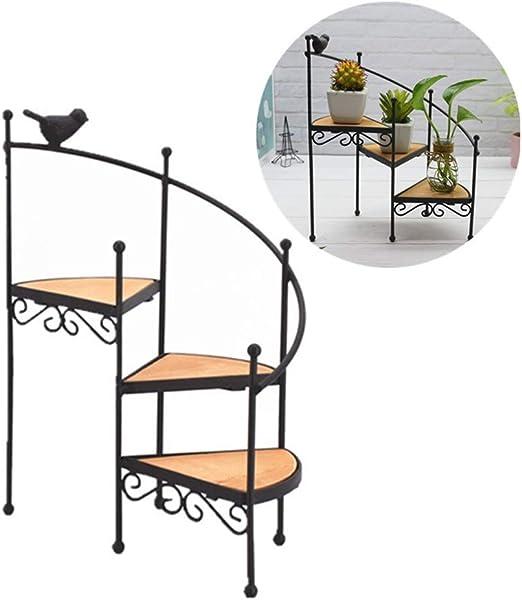 ETbotu - Estantería para Maceta, diseño Retro con Forma de casa de la Escalera, estantería de Almacenamiento, Base de la Planta de la exposición del candelabro de Estilo de la Escalera: Amazon.es: