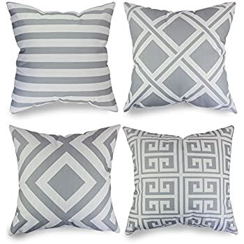 Popeven Grey Geometric Pattern Pillow Covers Decorative Sets Of 4 Sofa  Pillow Case For Living Room