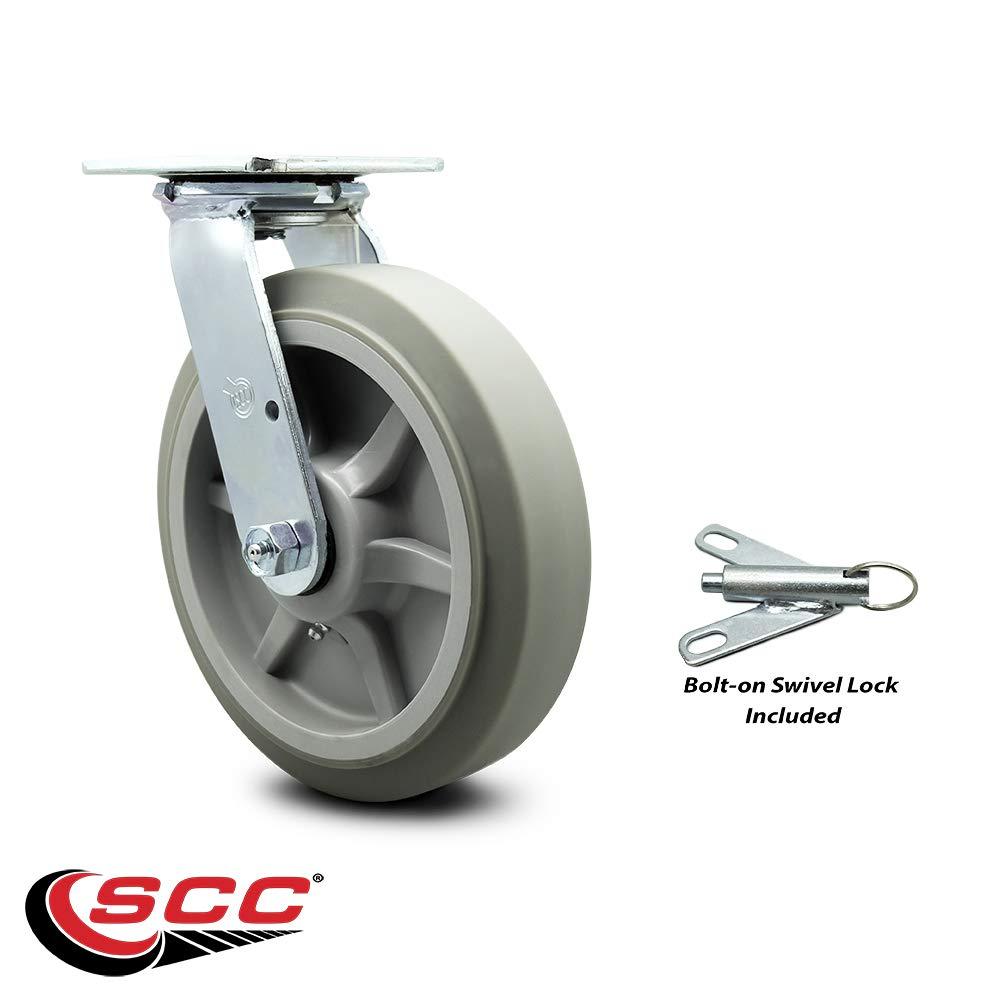 "Service Caster Brand 2 Swivel w//Total Lock Brakes /& 2 Rigid 600 lbs 8/"" Thermoplastic Rubber Flat Tread Caster Capacity//Caster"