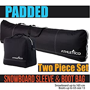Athletico Padded Two Piece Snowboard and Boot Bag Combo | Store & Transport Snowboard Up to 165 cm and Boots Up to Size 13 | Includes 1 Padded Snowboard Bag & 1 Padded Boot Bag