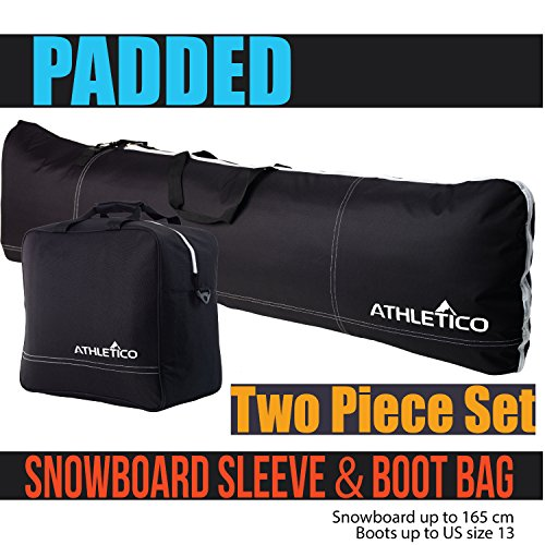Athletico Padded Two-Piece Snowboard and Boot Bag Combo | Store & Transport Snowboard Up to 165 CM and Boots Up To Size 13 | Includes 1 Padded Snowboard Bag & 1 Padded Boot Bag (Black)